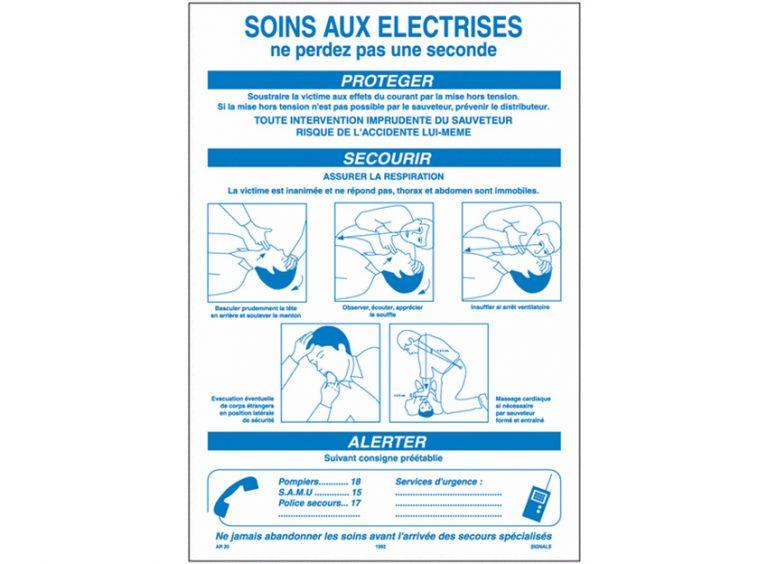 """Affiche """" soins aux électrisés """""""