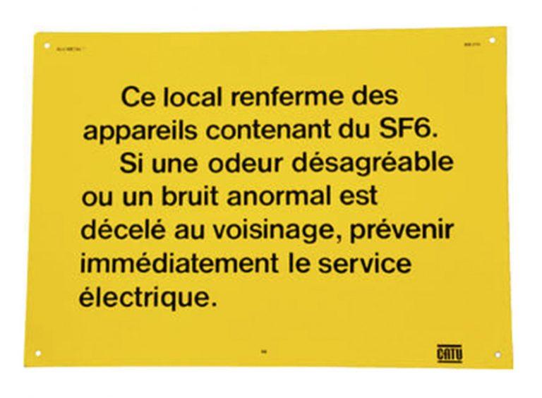 """pancarte """" ce local contient du gaz SF6 """""""