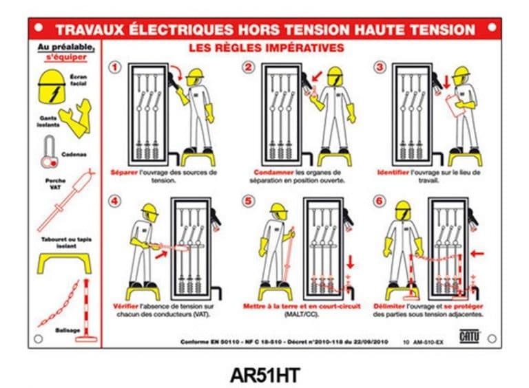 """Pancarte """" travaux électrique hors tension haute tension"""""""